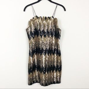 Dresses & Skirts - Vintage gold black sequin cocktail dress